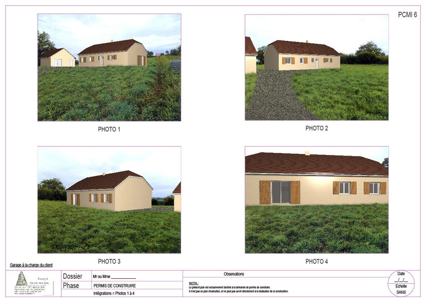 Plans bat permis de construire avant projets for Document graphique pour permis de construire