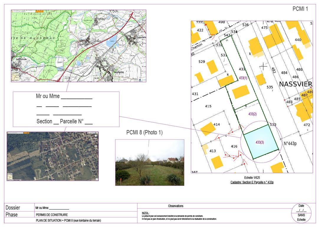 Plans bat permis de construire avant projets for Plan situation permis