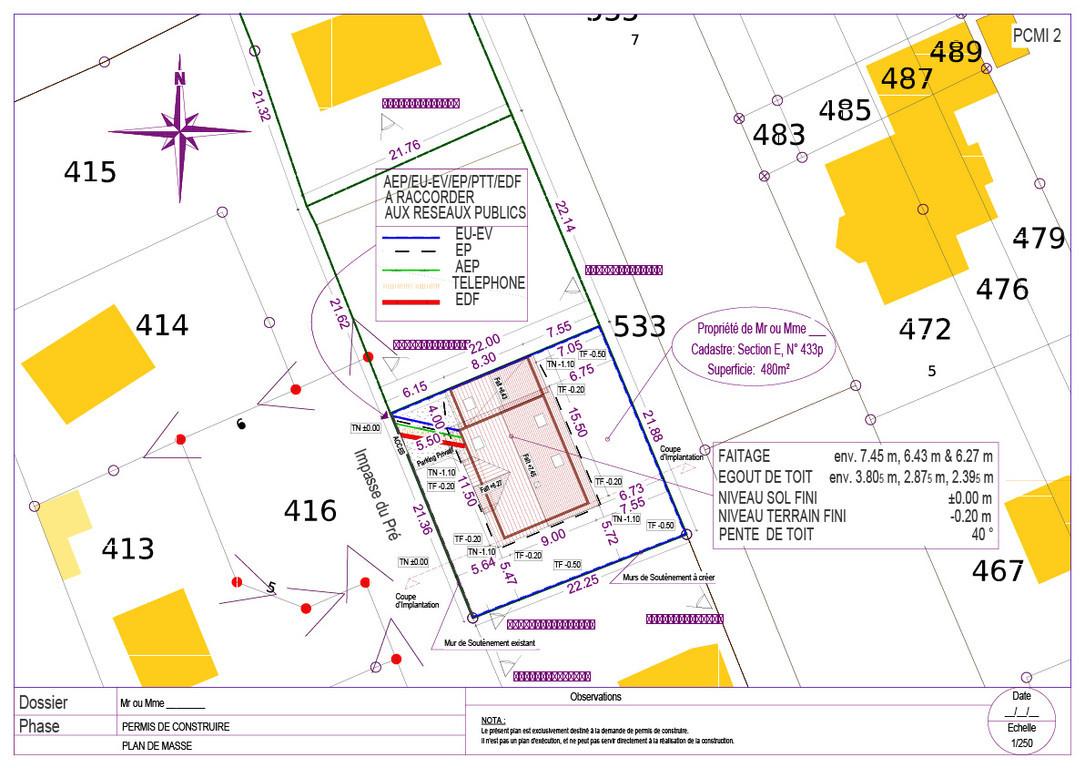 Plans bat permis de construire avant projets for Exemple plan de masse