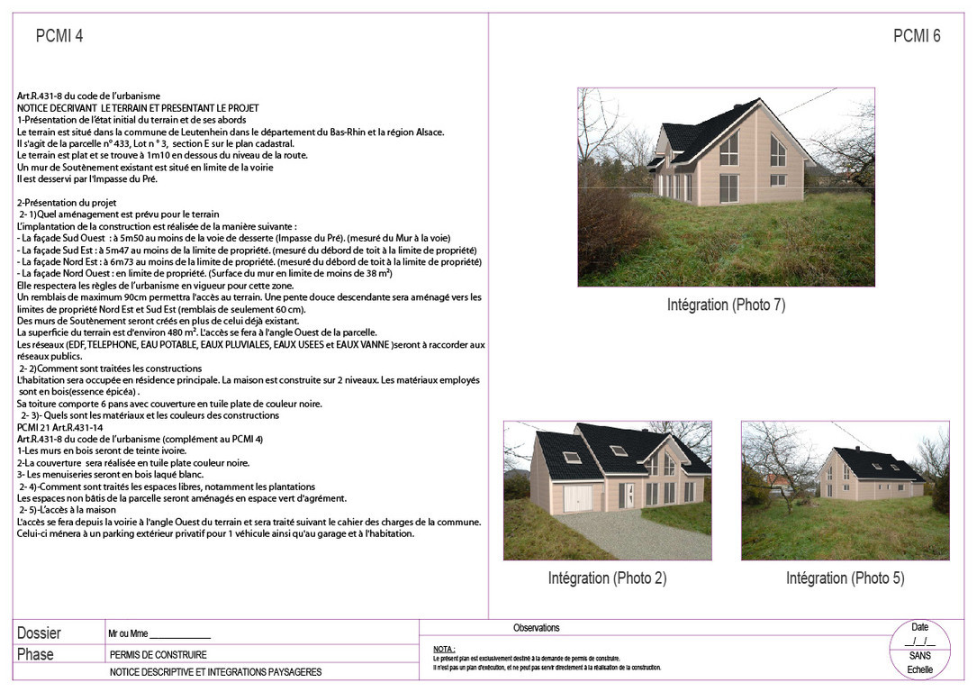 Plans bat permis de construire avant projets for Notice descriptive permis de construire