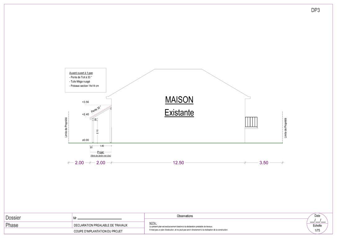 Plans bat permis de construire avant projets d claration de travaux rendus 3d exemple de - Exemple de plan de coupe ...